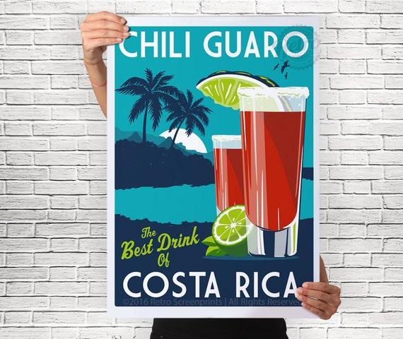 Costa Rica Chili Guaro Drink Poster Vintage Retro