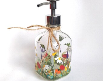 """Soap/Lotion Dispenser -- Kitchen Decor,Gift Idea,Gift for Mom,Friends Gift,Gift For Her,Hand Painted Soap Dispenser """"Bouquet of wildflowers"""""""