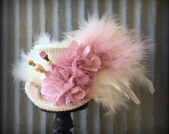 Mini Top hat Pink, Blush hat, Alice in Wonderland, Mad Hatter Hat, Wedding Mini top hat, Tea Party Hat, Royal Ascot, Kentucky Derby