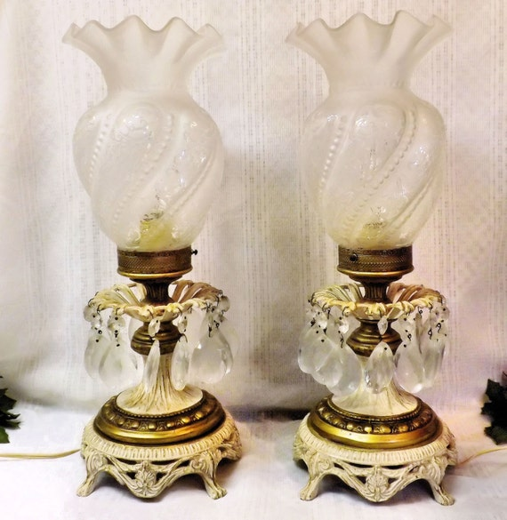 Pair Vintage Crystal Prism Brass Table Lamps Frosted Etched