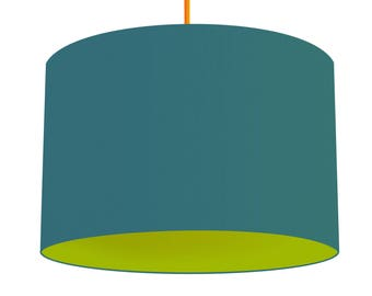 Teal Blue Linen Fabric Drum Lampshade, Contrasting Peapod Green Cotton Lining, Small Lampshade 20cm - Large Lampshade 40cm or Custom Size