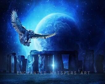 Stonehenge art, Stonehenge print, Stonehenge decor, owl art, owl print, owl decor, surreal art, fantasy art, fantasy print, fantasy decor