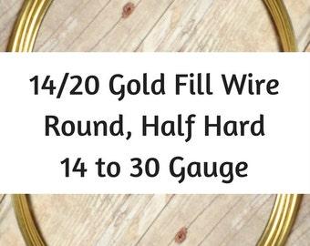 14/20 Gold Filled Wire, Round, Half Hard, 14 16 Gauge, 18 Gauge, 20 Gauge, 21 Gauge, 22 Gauge, 24 Gauge, 26 Gauge, 28 30 Gold Wire