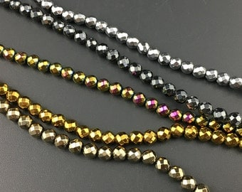 4mm natural hematite beads, gold, silver, rainbow, pyrite plated hematite, round faceted gemstone beads 15''