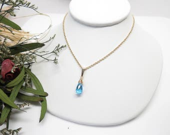 Swiss Blue Topaz Necklace, December Birthstone Necklace, Blue Gemstone In 14K Gold Filled, 16-18.5 Inches Length, Swiss Blue Topaz Jewelry