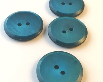50s Vintage blue green plastic buttons set of 4. Round buttons made in Sweden scandinavian design retro pattern vintage button