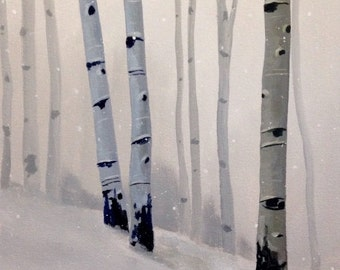 "Winter Birch Trees Original Painting CES - Snowy Landscape Winter Scene Christmas Tree Gray ART 11"" x 14"" Forest Snow Canadian Artist Grey"