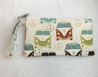 VW Van Padded, Zipper Wristlet Purse, Bridesmaid Bag, Clutch Purse, Child's Purse, Wristlet Gadget Bag - Choose Color