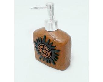 Anti Possession Tattoo Soap Dispenser, Supernatural soap pump, polymer clay soap pump