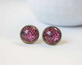 Earrings cabochons-sleepers - Red and Black with Glitter - 26
