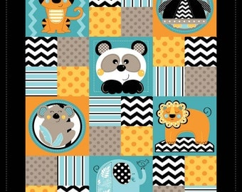 Zig Zag Zoo Blue/Teal Cotton Fabric Baby Quilt Panel 33x42
