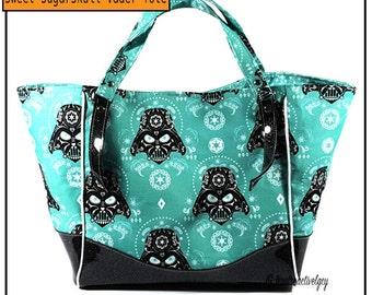 SugarSkull Vader Handbag Tote - Glitter Vinyl Handbag - Charlotte Tote Bag - Swoon Handbag - Valentines Day Gift