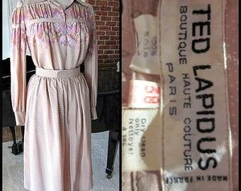 TED LAPIDUS Dress / Ted Lapidus Suit / Vintage Ted Lapidus 2 pc Dress / 60s French Couture Dress / 60s Pink Silk Dress / Blush Pink Silk
