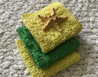 Bath Cloths - Bath Washcloths - Hand Knitted Washcloths - Soft Washcloths - Yellow Green Washcloths - Face Cloths - Gift for Women's