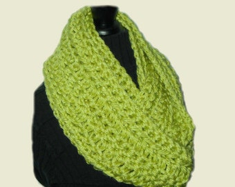 Infinity Scarf Cowl Chunky Crochet Infiniti Chartreuse Light Lime Green Scarf Hand Made in USA
