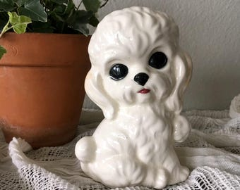 Vintage Ceramic Poodle Figurine / Vintage Little Dog Statue