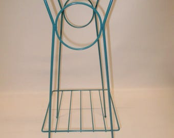 Mid Century Eames Style Wire Plant Telephone Stand Table Turquoise Blue