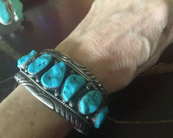 Reserved - do not buy - on layaway - Kingman Turquoise 7 Stone Sterling  Silver Cuff Bracelet - signed Roanhorse - 75 grams