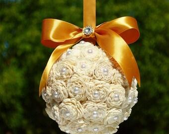Kissing Ball, Sola Flower Kissing Ball, Gold Pomander