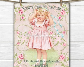 Adorable Vintage Girl, French Typography, Flowers, Digital Download, French Pillow Image, Transfer, Scrapbooking