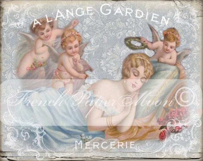 French Digital Shabby Chic Angels, French Digital Guardian Angel, French Cherub Fabric Transfer Graphic
