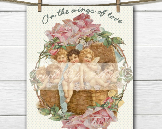 Vintage Digital Shabby Chic Valentine, Basket of Angels, Cherubs, Rose Wreath, Valentine Pillow Transfer Digital Graphic
