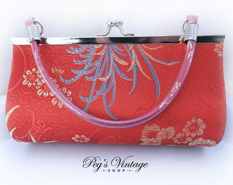 Oriental Brocade Clutch Purse, Red Silk/Satin Asian Purse, Vintage Trending Fashion Accessory