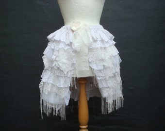 Upcycled Tattered Bustle Woman's Clothing Tattered Cotton Lace Tulle White Off White Ivory Floral Beaded Made in UK England