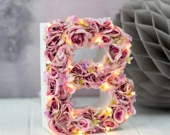 light up flower light - light up letter - nursery letter - rustic wedding