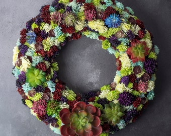Succulent wreath - rustic front door wreath - christmas wreath - wedding wreath - artificial succulent wreath