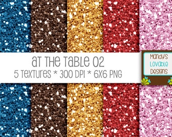 SALE - At The Table Glitter Set 2 - Blue Brown Gold Red Pink - Scrapbooking, Photography, Blog Design, Invitations - CU OK