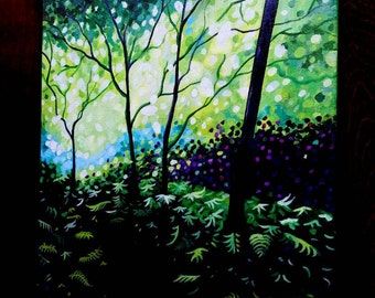 Contemporary expressionistic forest landscape painting by Pamela Henry large wall decor dreamy greens forest nature art