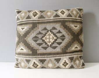 Vintage Southwestern Style Pillow Neutral Grays Browns Bohemian Mid Century