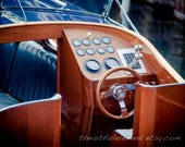 Vintage boat photo, Lake house décor, Boat photography, Chris Craft, Gift for him, Boat decor, Canvas boat art, // Classic wooden boat helm
