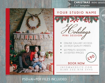 "Holidays Mini Session Template for Photographers - 7""x5"" print - psd template- eps pdf - editable file- gold glitters and red ad template"