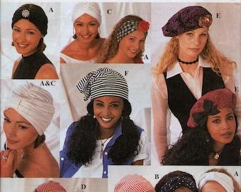 Hats, Head Coverings, Headbands, Turban, Scarf pattern - Simplicity 8699 - 10 Styles - Women's hats