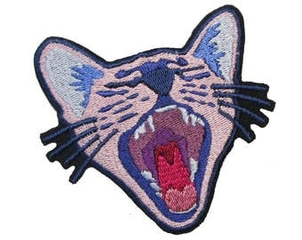 Yawning Cat iron on Patch, yawning kitten, cat embroidered patch, iron on kitten patch, fashion patch, jacket patch, cute patch, funny patch