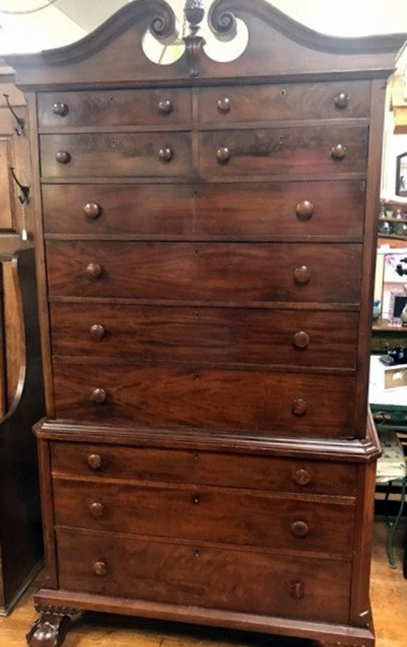 Walnut Highboy Dresser - chest on chest 11 drawers