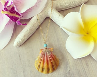 Sunrise Shell Necklace, Moonrise Shell Necklace, Hawaii Shell Necklace