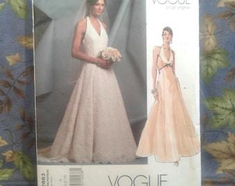 Vogue Designer Original.  Halter Wedding Dress.  Petite. Size 6-8-10.  Advanced.  Pattern No. V2883.