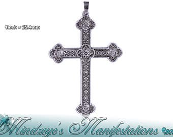 1 Large Antq Silver Finish Cross Pendant 54x80mm