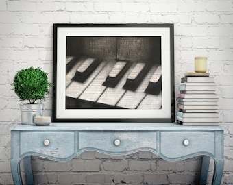 """22x28"""" Original Oil Mixed Media Piano Painting on Music Notes"""