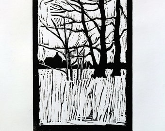 "Original linocut print ""Winter trees"" black oil based ink of a edition of 6 home decor engraved black ink landscape trees winter snow"