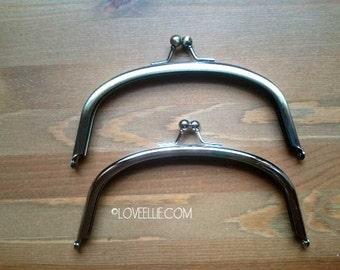 PURSE FRAME 6 inch (15 cm) Curved Purse Frame - Shiny Silver Nickel finish - Glue in purse frame - Solid good quality metal purse frame