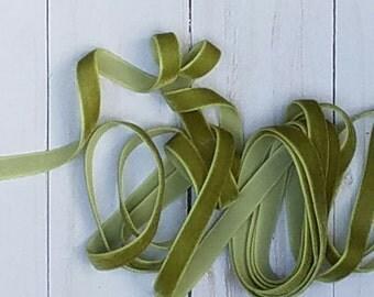 3/8 OLIVE Velvet NON ELASTIC Ribbon