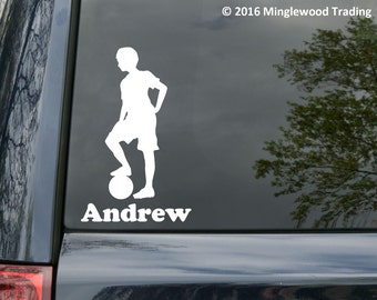 "Soccer Player Boy Standing with Personalized Name vinyl decal sticker 6.5"" x 4"" Ball *Free Shipping*"