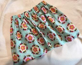 Bee and Flower Skirt, spring skirt, summet skirt, girls skirt