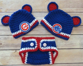 Cubs Crochet Hat, Diaper Cover Set, Newborn to 12 mo, photo props, MLB Cubs, baby shower gift, choice of CUBS or BEAR patch on hat, Chicago