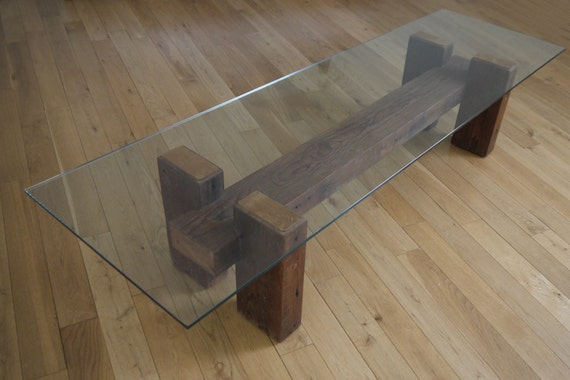reclaimed wood and glass coffee table unique coffee table. Black Bedroom Furniture Sets. Home Design Ideas