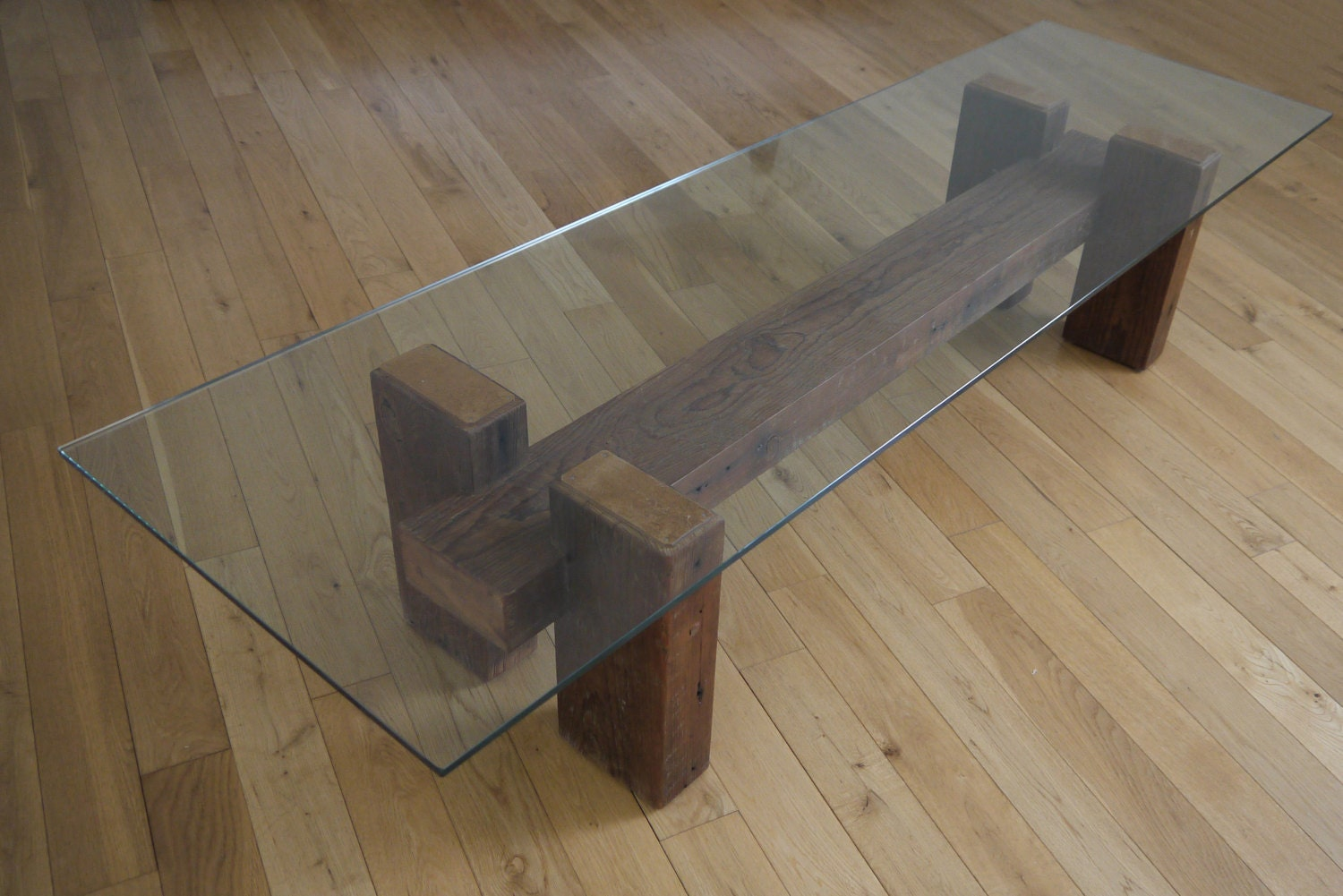 Wood And Glass Table Diy: Reclaimed Wood And Glass Coffee Table. Unique Coffee Table